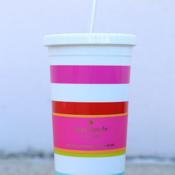 Kate Spade New York Tumbler With Straw 20 oz - Candy Stripe