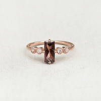 Large Baguette Ring - Rose Gold + Rhodolite