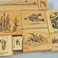 "Stampin Up Rubber Stamps - RETIRED - MINT Set - 1996 - Very Hard to Find ""Fishin"" - Scrapbooking, Cardmaking, Crafts"
