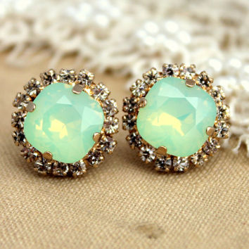 Mint green seafoam Crystal stud Petite vintage earring - 14k plated gold post earrings real swarovski rhinestones .