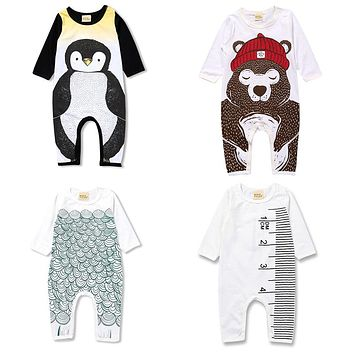 Spring newborn baby boy sliders girl clothes Bear penguin Pattern children's pajamas toddler long sleeve clothes suit