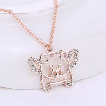 Rose Gold Plated flying pigs necklaces cute crystal luck pendant necklaces for women