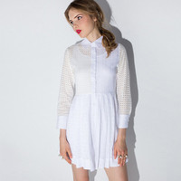 White Single Breasted Cutout Detail Long Sleeves A-Line Dress