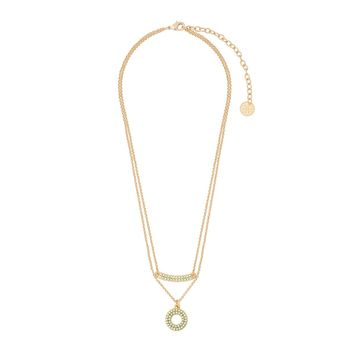42cm long necklace with 10cm extension in 18 kt gold plating with pastel green pearls