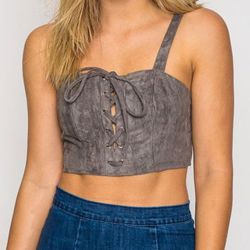 Gray Suedette Lace Up Front Crop Cami Top