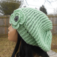 Mint women hat, with flower,womens accessory,Hand Made Knit,Slouchy Beanie,Slouch Hats Oversized