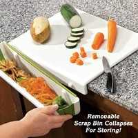 Cutting Board with Scrap Bin - Fresh Finds - Freshest Finds