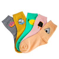 Korean Women Cute Milk Sushi Donut Cotton Socks Kawaii Female Lemon Cake Lemon Food Cartoon Sock Cheap Short Socks