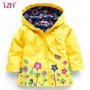 LZH Trench Coat For Girls Jacket 2017 Autumn Winter Jackets For Girls Boys Windbreaker Kids Raincoat Outerwear Children Clothes