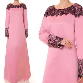Dusty Rose Pink Gown, Bridal Satin Abaya, Alternative Wedding Gown, Long Sleeve Maxi Dress - Plus Size XL/1X (2055)