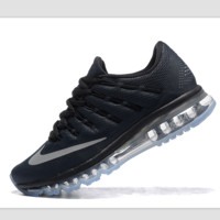 """NIKE"" Trending Fashion Casual Sports Shoes AirMax Toe Cap hook section knited Black Silver hook"