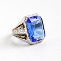 Vintage Art Deco Sterling Silver Simulated Sapphire Ring -1930s Size 10 Hallmarked Uncas Mens Statement Blue Glass Stone Wheat Motif Jewelry