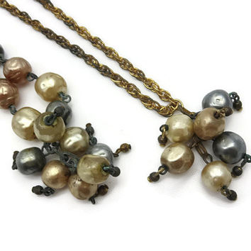 Baroque Pearl Sautoir Necklace and Bracelet Set - Miriam Haskell Style AS IS