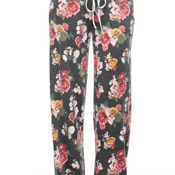 Lets Get Cozy Floral Lounge Pants - Charcoal