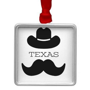 Texas in White Metal Ornament