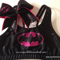 Hot Pink Batty  Metallic Sports Bra and Bow Set Cheerleading