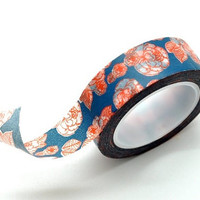 Washi Tape Paper Masking Tape - Navy Blue Red Peony Flower