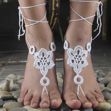 handmade crochet barefoot sandals nude shoes foot jewelry wedding victorian lace sexy yoga anklet bellydance steampunk summer beach pool ethnic gift 20 2
