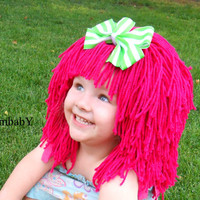 Halloween Costumes for Kids, Hot Pink Wig, Pageant Costume, Cabbage Patch Inspired, Photo Props, Strawberry Shortcake