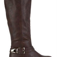 Tall Flat Riding Boot with Gold Buckles
