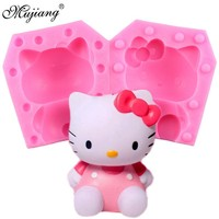 Mujiang 3D Hello Kitty Candle Silicone Mold Soap Resin Clay Molds Cat Candy Chocolate Baby Party Fondant Cake Decorating Tools