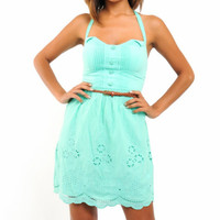 Embroidered Laser Cut Halter Dress in Mint