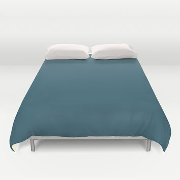 Teal The World (Blue) Duvet Cover by Moonshine Paradise
