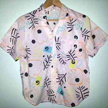 Vintage SHIRT Short Sleeve Button Up Pastel Baby Pink Soft Grunge Hipster Surfer Saved by the Bell All Over Print Size Medium