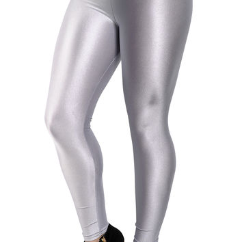 BadAssLeggings Shiny Candy Neon Leggings Medium Silver