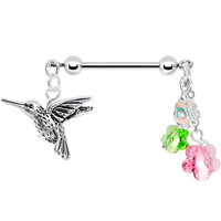 Handcrafted Hummingbird Nipple Ring Created with Swarovski Crystals | Body Candy Body Jewelry