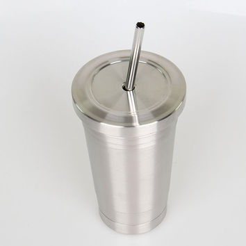 16oz stainless steel drinking tumbler with metal straw,plastic inner tumbler insulated coffee tumbler Free shipping