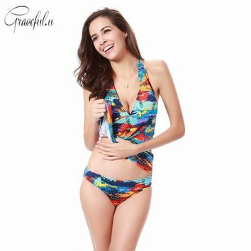 Plus Size Women Printed Two Piece Swimsuit Sexy Tankinis Bathing Suit Summer Beach Swimwear With Chest Pad