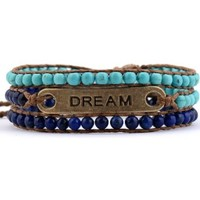 Inspirational Message Bracelet Dream Leather Wrap Turquoise Blue Beads