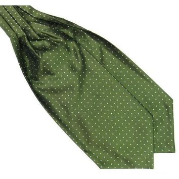 Men's Forest Green Polka Dot Ascot/Cravat Tie