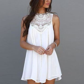 Sleeveless Crochet Hollow Shift Short Loose Dress