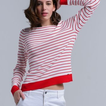 White Red Striped Summer Sweater