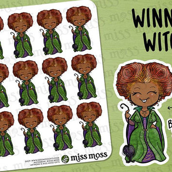 Winnie Winifred Sanderson BROWN SKIN Halloween Stickers - Erin Condren, Happy Planner, Kikki K, Filofax, Decorative