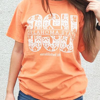 OSU damask orange comfort colors women's t-shirt