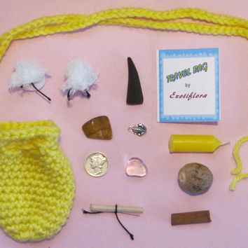 TRAVEL Luck Medicine or Mojo Bag/Charm/Amulet w/SILVER Mercury Dime/Coin, Crystals, Herbs, Spices and More.