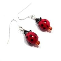 Red and Black Ladybug Earrings on Handmade Artists' Shop