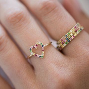 Rainbow heart ring, 14k solid gold