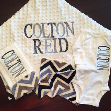 Newborn Baby Boy Monogrammed Blanket 3 piece Girft set Coming Home Outfit with Monogrammed Minky and Flannel Blanket Burp Cloth Boy Bodysuit