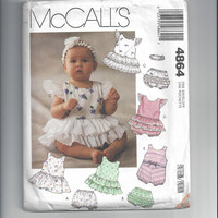 McCall's 4864 Pattern for Infants' Sundress, Romper, Panties & Headband, Sizes Newborn to Large, From 1990