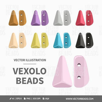 Vector Clipart Set of Two-hole Vexolo Beads - Instant Download