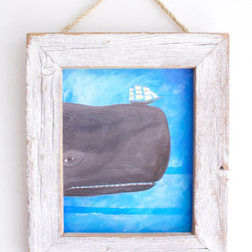 Beach Decor Framed Whale Art Print in Reclaimed Barn Wood Frame Shabby Chic Decor Rustic Beach Kids Room Beach Baby Nursery Wedding Gift