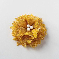 Lace Flowers Hair Accessories, Yellow Hair Flower Clips - Fall Autumn Wedding