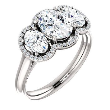 1.25 Ct Oval Diamond Engagement 3 Stone Ring 14k White Gold