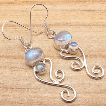 Moonstone Earrings 925 Silver Plated Over Solid Copper Core