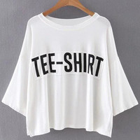 White Batwing Sleeve Split Side Letters Patch T-Shirt