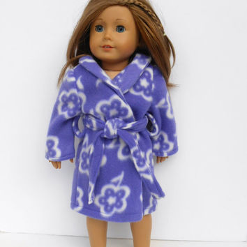 18 Inch Doll robe, Girl Doll Robe, Purple Floral Bathrobe, Spa Robe, Doll Clothes, Purple with White Flowers, fits American Girl Dolls